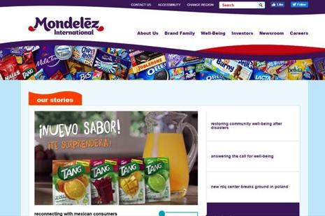 A screen grab of Mondelez International website