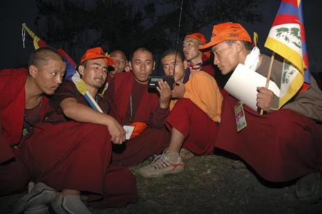 A file photo of Tibetan Budhist monks at Takipur, near Dharamshala. Though the Tibetan government in exile is headquartered in Dharmsala, thousands of Tibetans live in Karnataka. Photo: AP