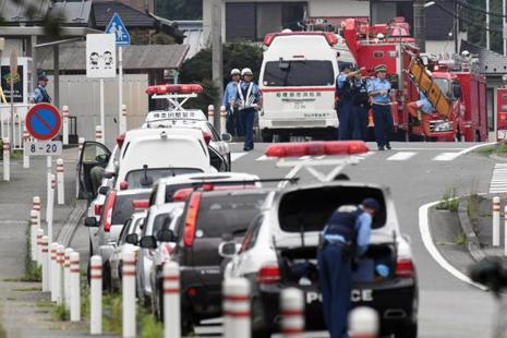 Police officers near a facility for the disabled where at least 15 people were killed and as many as 20 wounded by a knife-wielding man, in Sagamihara, Kanagawa prefecture, Japan. Photo: Reuters
