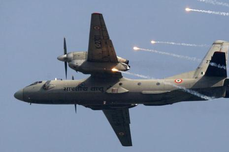 A file photo of an Indian Air Force AN-32 transport plane releasing flares. Photo: AP