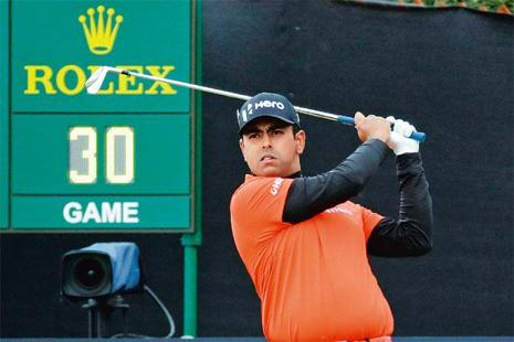 Lahiri during a golf championship in Scotland. Photo: Matt Dunham/AP