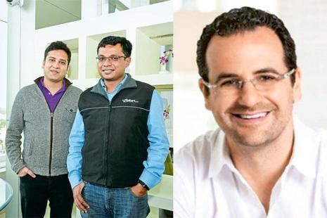 In 2009, Tiger Global's Lee Fixel (right) agreed to give as much as $10 million to Flipkart co-founders Binny and Sachin Bansal (left), impressed by their passion and ambition. Photo: Mint and Linkedin