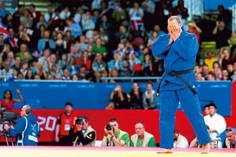 Judoka Jake Andrewartha reacts to his loss at the 2012 London Olympics. Photo: Quinn Rooney/Getty Images