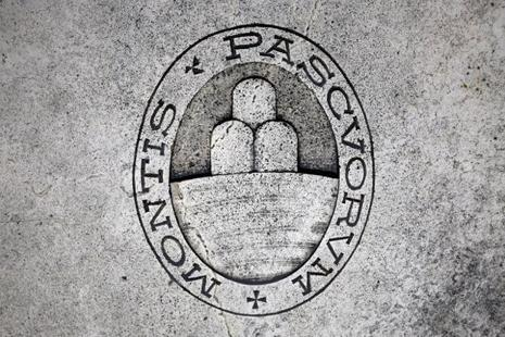 A logo of Monte dei Paschi di Siena bank is seen on the ground in downtown Siena, Italy. Photo: Reuters