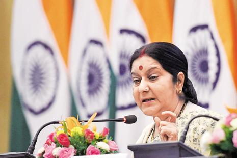 File photo. External affairs minister Sushma Swaraj said the Indian embassy in Saudi Arabia has been directed to serve food to them and that she was monitoring the situation on an hourly basis. Photo: PTI