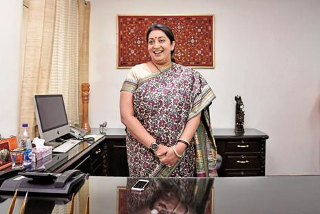 A file photo of Union textile minister Smriti Irani. Photo: Arun Sharma/HT