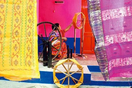 Weavers in Phulia make five saris a week and are paid Rs100-400 per sari. Photographs: Indranil Bhoumik/Mint