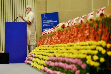 Prime Minister Narendra Modi delivers his speech at NITI Aayog's first annual lecture on Transforming India in New Delhi on Friday. Photo: PTI