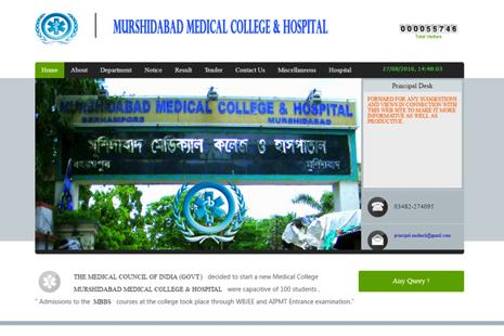 A screen grab of Murshidabad Medical College and Hospital website