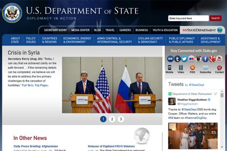 A screen grab of US Department of State website