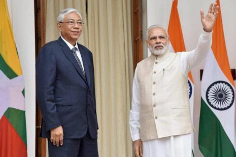 Prime Minister Narendra Modi (right) with President Htin Kyaw of Myanmar in New Delhi. Photo: PTI