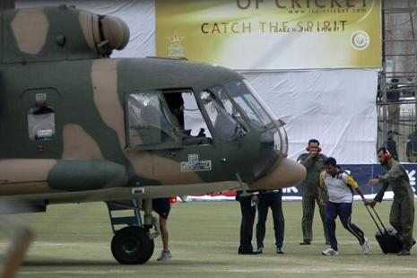 In a file photo, a Sri Lankan player boards into a helicopter at Gaddafi stadium after the shooting incident in Lahore, Pakistan, on 3 March 2009. Photo: AP