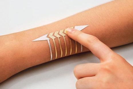 Metallic jewel: The smart tattoo designed by the Massachusetts Media Lab.