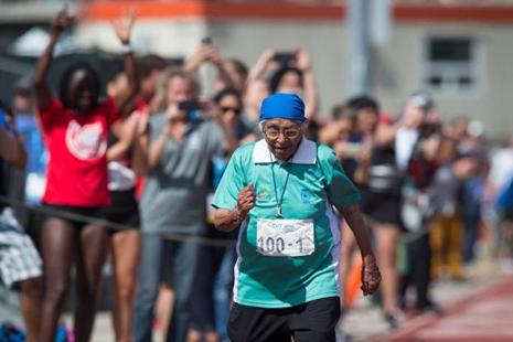 Man Kaur, 100, of India, competes in the 100-metre track and field event at the Americas Masters Games in Vancouver, British Columbia on 29 August. Photo: AP.