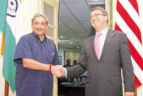 The signing of the agreement will 'make the logistics of joint operations so much easier and so much more efficient,' US defence secretary Ash Carter said in a news briefing with Indian defence minister Manohar Parrikar.  Photo: PTI