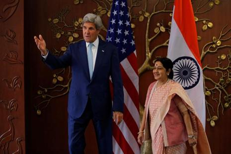 US secretary of state John Kerry (left) meets foreign minister Sushma Swaraj before the start of their meeting in New Delhi on 30 August. Photo: Reuters
