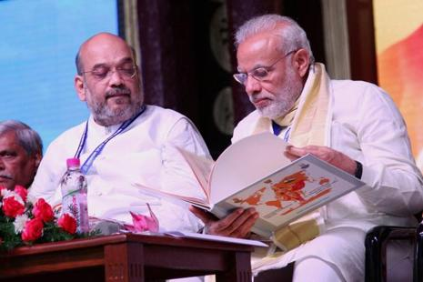 Bharatiya Janata Party president Amit Shah and Prime Minister Narendra Modi participate at the BJP national council meeting in Kozhikode on Sunday. Photo: PTI