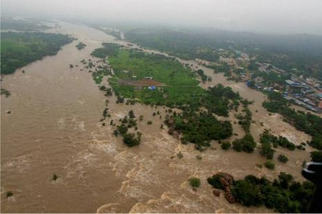An aerial view of a flood-hit village at Medak district in Telangana. Photo: PTI