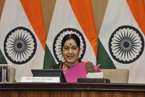 Sushma Swaraj's speech comes against the backdrop of heightened tensions between India and Pakistan over the decades-old Kashmir dispute. Photo: Mohd Zakir/Hindustan Times