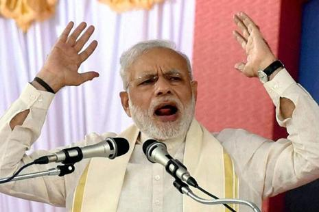 Narendra Modi's unconventional challenge to Pakistan came in a speech that otherwise was full of sabre-rattling, anti-Pakistan tongue-lashing—only to be expected from after a suicide attack by terrorists killed 18 Indian soldiers and wounded 18 more in Jammu and Kashmir on 18 September.  Photo: PTI
