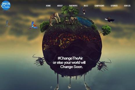A screen grab of  Change the Air website