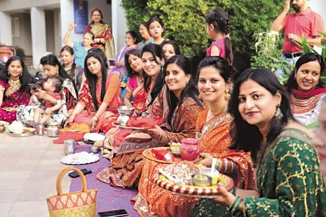 Women are celebrating festivals like Karva Chauth on a larger scale. Photo: Hemant Mishra/Mint