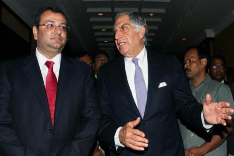 A file photo of Ratan Tata (right) with Cyrus Mistry. Photo: PTI