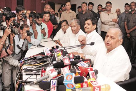 The decision about the next chief minister will be taken by Samajwadi Party legislators as it was done in 2012, Mulayam said at a press conference in Lucknow on Tuesday. Photo: HT