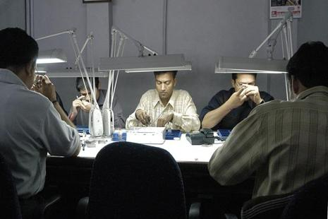 A file photo of a diamond polishing unit in Surat. Photo: Bloomberg