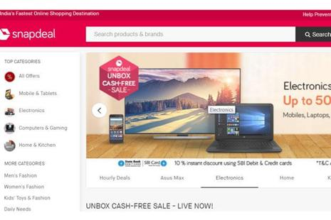 Snapdeal.com has started the two-day Unbox CashFree Sale, from Monday.