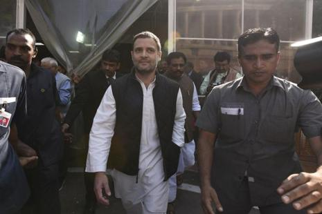 File photo. On his 'pay to Modi' jibe, Rahul Gandhi (centre) said he will explain on his allegation inside Lok Sabha if allowed to speak. Photo: Sonu Mehta/Hindustan Times