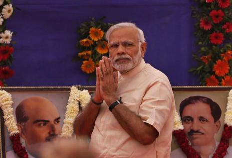 Prime Minister Narendra Modi in Gandhinagar on Saturday. Photo: AP