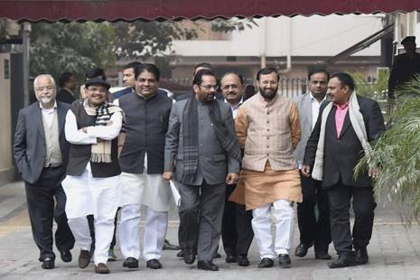 A BJP delegation comprising Prakash Javadekar, Mukhtar Abbas Naqvi and others coming out from Nirvachan Bhavan after meeting Election Commissioner in New Delhi on Tuesday. Photo: PTI