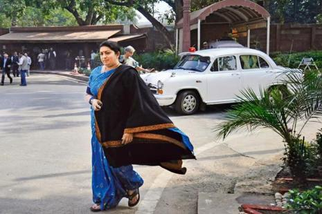 A file photo of Union textile minister Smriti Irani. Photo: Hindustan Times