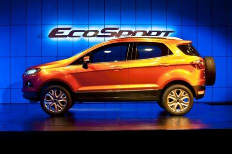 A file photo of the new Ford EcoSport car displayed during its unveiling in New Delhi in 2012.Photo: AFP