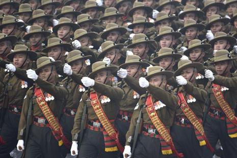 A file photo of Assam Rifles march down Rajpath during the Republic Day parade. Photo :Vipin Kumar/ Hindustan Times