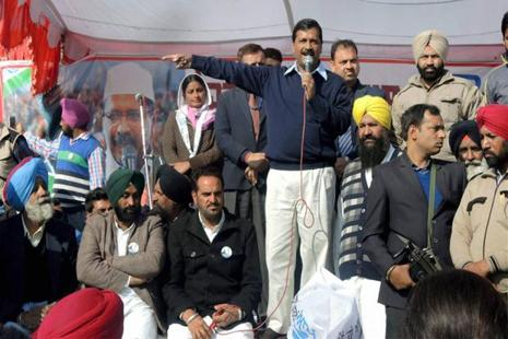 AAP national convener and Delhi chief minister Arvind Kejriwal at an election rally in Lambi. Photo: PTI