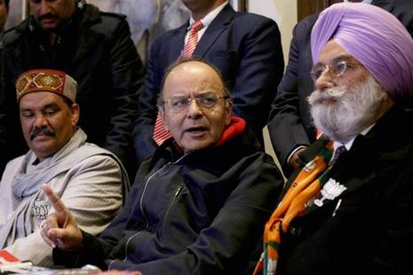 Union finance minister Arun Jaitley along with other BJP leaders during a press conference in Amritsar on Saturday. Photo: PTI