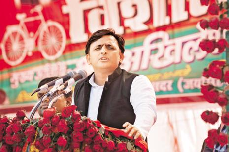 Samajwadi Party's Akhilesh Yadav during an election rally in Sultanpur, Uttar Pradesh, on Tuesday. Photo: Reuters