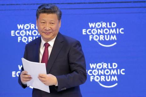 File photo. China's President Xi Jinping at the World Economic Forum in Davos, Switzerland, which concluded last week. Photo: AP