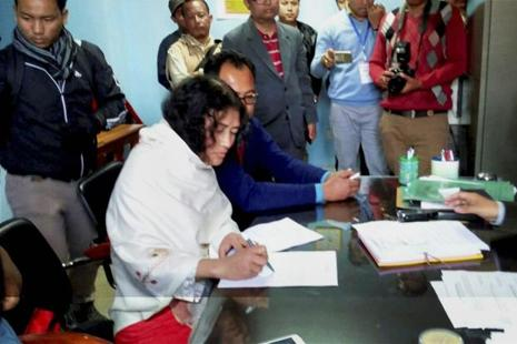 Irom Sharmila files nomination at DC Office for the upcoming Manipur assembly elections on 16 February 2017. Photo: PTI
