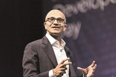 Microsoft CEO Satya Nadella is convinced that despite the current challenges Indian IT companies are facing at home and abroad, they are on the right side of history. Photo: Bloomberg