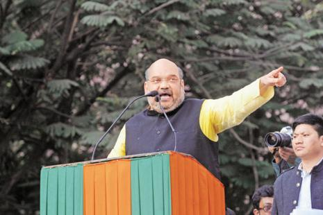 BJP chief Amit Shah expresses confidence that his party will form the next govt in UP, Uttarakhand and Goa with 'full majority'. Photo: Indranil Bhoumik/Mint