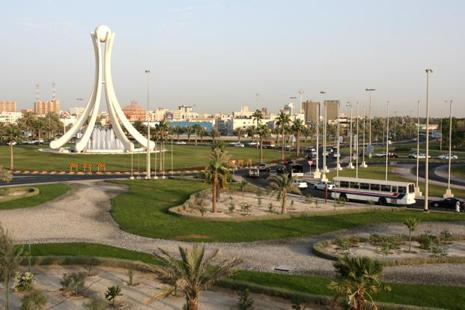 A file photo of Bahraini monument 'Pear Junction' . There are more than 300,000 Indian migrant workers in the tiny Gulf state of one million people, according to the Indian embassy in Manama.