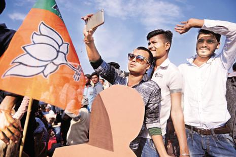 BJP supporters at party president Amit Shah's rally at Mahoba, Uttar Pradesh on 15 February. Photos: Pradeep Gaur/Mint