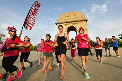 Milind Soman at the 2014 Pinkathon race at India Gate in New Delhi. Photo: Arvind Yadav/ Hindustan Times