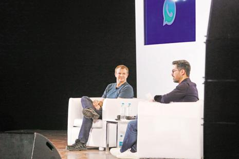 WhatsApp co-founder Brian Acton (left) and Neeraj Arora, head of business, WhatsApp at IIT Delhi.