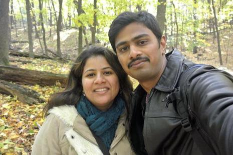 An undated photo of Srinivas Kuchibhotla (right) with his wife Sunayana Dumala in Cedar Rapids, Lowa. Photo: AP