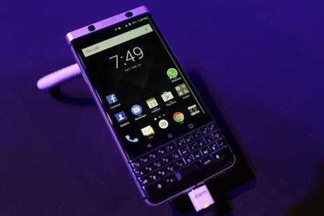 The new BlackBerry KEYone is displayed at the Mobile World Congress in Barcelona, Spain, Saturday. Photo: AP