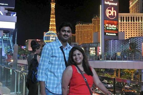 A file photo of Indian engineer Srinivas Kuchibhotla with his wife Sunayana Dumala in Las Vegas. Photo: PTI